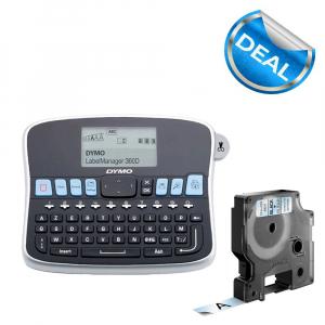 Aparat de etichetat LabelManager 360D QWERTY si 1 caseta etichete profesionale, 12 mmx7m, negru/transparent, S0879480, 450100