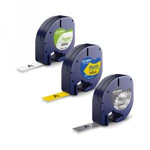 Etichetator/masina de etichete Dymo LetraTag Black Editie Limitata si 4 benzi originale Dymo, 2 x alb, galben si argintiu15