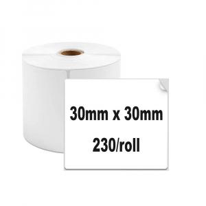 Etichete termice universale 30 x 30mm, plastic alb, permanente, 1 rola, 230 etichete/rola, pentru imprimanta M110 si M2000