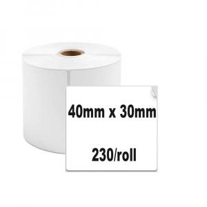 Etichete termice universale 40 x 30mm, plastic alb, permanente, 1 rola, 230 etichete/rola, pentru imprimanta M110 si M2001