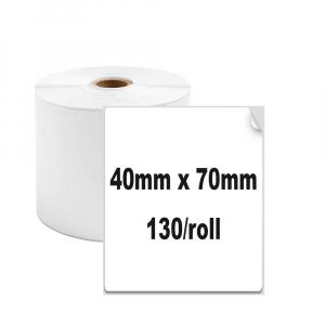 Etichete termice universale 40 x 70mm, plastic alb, permanente, 1 rola, 130 etichete/rola, pentru imprimanta M110 si M2000