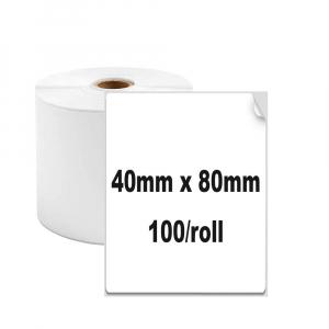 Etichete termice universale 40 x 80mm, plastic alb, permanente, 1 rola, 100 etichete/rola, pentru imprimanta M110 si M2000