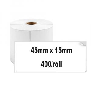 Etichete termice universale 45 x 15mm, plastic alb, permanente, 1 rola, 400 etichete/rola, pentru imprimanta M110 si M2001