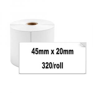 Etichete termice universale 45 x 20mm, plastic alb, permanente, 1 rola, 320 etichete/rola, pentru imprimanta M110 si M2001