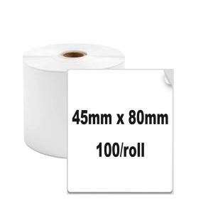 Etichete termice universale 45 x 80mm, plastic alb, permanente, 1 rola, 100 etichete/rola, pentru imprimanta M110 si M2001