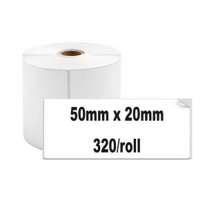 Etichete termice universale 50 x 20mm, plastic alb, permanente, 1 rola, 320 etichete/rola, pentru imprimanta M110 si M2000