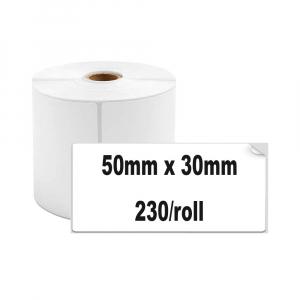 Etichete termice universale 50 x 30mm, plastic alb, permanente, 1 rola, 230 etichete/rola, pentru imprimanta M110 si M2000