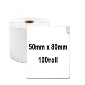 Etichete termice universale 50 x 80mm, plastic alb, permanente, 1 rola, 100 etichete/rola, pentru imprimanta M110 si M2000