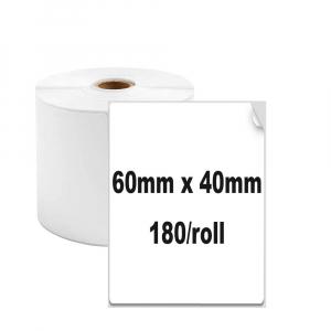 Etichete termice universale 60 x 40mm, plastic alb, permanente, 1 rola, 180 etichete/rola, pentru imprimanta AYMO M2001