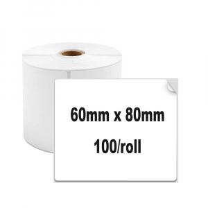 Etichete termice universale 60 x 80mm, plastic alb, permanente, 1 rola, 100 etichete/rola, pentru imprimanta AYMO M2001