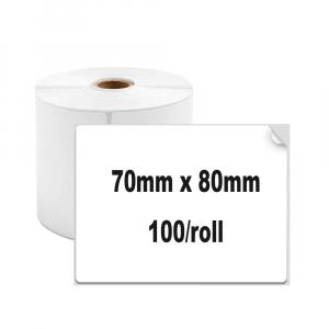 Etichete termice universale 70 x 80mm, plastic alb, permanente, 1 rola, 100 etichete/rola, pentru imprimanta AYMO M2001