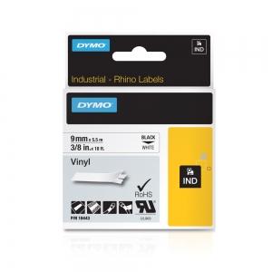 Banda Originala Dymo ID1 9mm x 5.5m Vinil Negru/Alb, 18443, S07185806