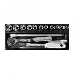 Trusa chei tubulare cu clicket Engineer TWS-02, metric, cutie metalica, chei tubulare 4–13, accesorii, 16 piese, fabricata in Japonia1
