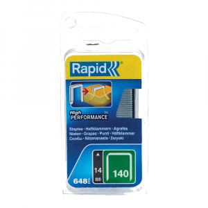 Capse Rapid 140/14 mm, galvanizate, divergente, High Performance, pentru ambalaje, 648 capse/blister 4010957623