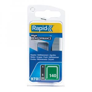 Capse Rapid 140/6, sarma plata galvanizata, High Performance, pentru ambalaje, 970 capse/blister 4010951323