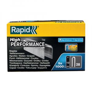 Capse albe Rapid 28/10 mm pentru cabluri, High Performance, galvanizate, semicirculare, divergente, 1000 capse/cutie 1189351110