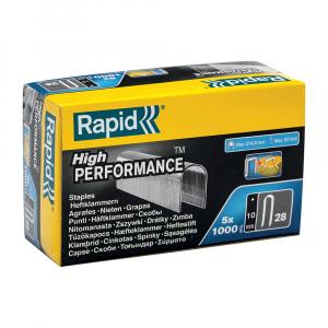 Capse albe Rapid 28/10 mm pentru cabluri, High Performance, galvanizate, semicirculare, divergente, 1000 capse/cutie 118935110