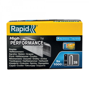 Capse Rapid 28/11 mm pentru cabluri, High Performance, galvanizate, semicirculare, divergente DP, 1000 capse/cutie 1189193310