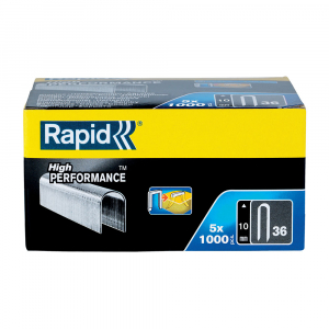 Capse Rapid 36/10 mm pentru cabluri, High Performance, galvanizate, semicirculare, divergente DP, 1000 capse/cutie 1188441010