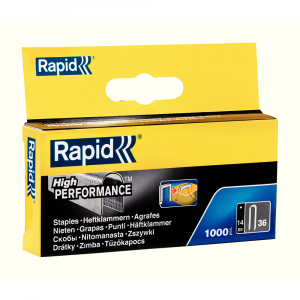 Capse Rapid 36/14 mm pentru cabluri, High Performance, galvanizate, semicirculare, divergente DP, 1000 capse/cutie 118869100