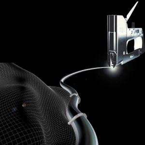 Capse albe Rapid 36/14 mm pentru cabluri, High Performance, galvanizate, semicirculare, divergente, 1000 capse/cutie 118869118