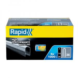 Capse albe Rapid 36/14 mm pentru cabluri, High Performance, galvanizate, semicirculare, divergente, 1000 capse/cutie 1188691110
