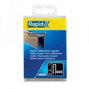 Capse cu coroana ingusta Rapid 606/12 mm, High Performance, acoperite cu rasina, 12mm, 3600 capse/cutie plastic 403030934