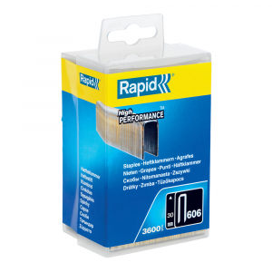 Capse cu coroana ingusta Rapid 606/30 mm, High Performance, acoperite cu rasina, 25mm, 3600 capse/cutie plastic 403030960