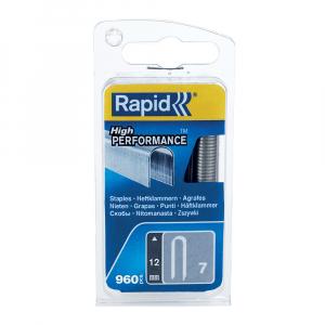 Capse Rapid 7/12 mm pentru cabluri, High Performance, galvanizate, semicirculare, 960 capse/blister 401095239