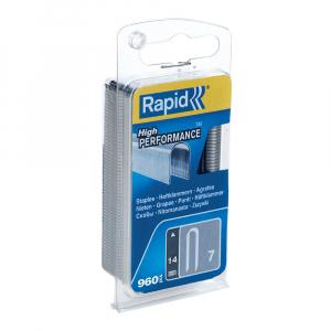 Capse Rapid 7/14 mm pentru cabluri, High Performance, galvanizate, semicirculare, 960 capse/blister 401095240