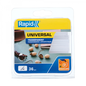 Baton silicon Rapid Decoratiuni Fun to Fix transparent, Universal, Ø7mm x 90mm, baza EVA, 36 buc/blister 401079484