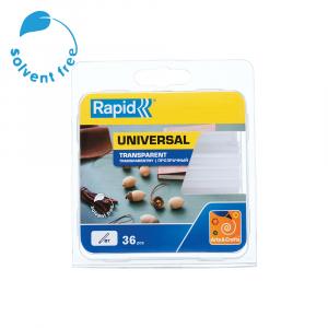 Baton silicon Rapid Decoratiuni Fun to Fix transparent, Universal, Ø7mm x 90mm, baza EVA, 36 buc/blister 401079481
