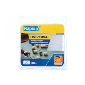 Baton silicon Rapid Decoratiuni Fun to Fix transparent, Universal, Ø7mm x 90mm, baza EVA, 36 buc/blister 401073500