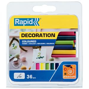 Baton silicon Rapid Decoratiuni Fun to Fix color Modern (albastru, galben, roz, verde si vernil), Universal, Ø7mm x 90mm, baza EVA, 36 buc/blister 500142612