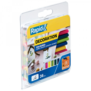 Baton silicon Rapid Decoratiuni Fun to Fix color Modern (albastru, galben, roz, verde si vernil), Universal, Ø7mm x 90mm, baza EVA, 36 buc/blister 500142611