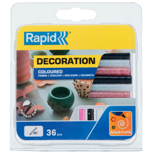 Baton silicon cu sclipici Rapid (alb, roz, negru), Universal, Ø7mm x 90mm, baza EVA, 36 buc/blister 500142210