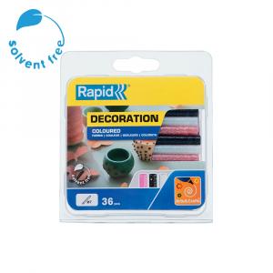 Baton silicon cu sclipici Rapid (alb, roz, negru), Universal, Ø7mm x 90mm, baza EVA, 36 buc/blister 50014220