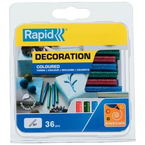 Baton silicon cu sclipici Rapid (verde, rosu, albastru), Universal, Ø7mm x 90mm, baza EVA, 36 buc/blister 500142412