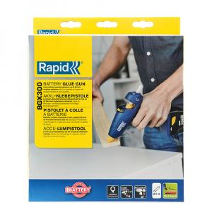 Pistol de lipit Rapid BGX300 cu acumulator, batoane silicon 12mm, 30W, debit 250 g/ora, acumulator Li-Ion inclus, 403030736