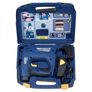 Capsator electric Rapid BTX140 cu acumulator Li-ion kit, pentru ambalaje, forta capsare reglabila, sistem siguranta anti-declansare accidentala, magazie duala, capse Rapid 140mm,cuie Rapid 8mm,50013871