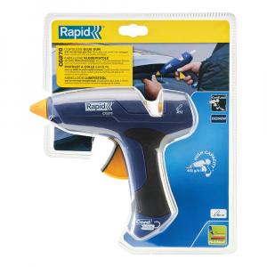 Pistol de lipit Rapid CG270 fara cablu, 7 minute functionare fara cablu alimentare, batoane silicon Ø12mm, 250W, debit 400 g/ora, duze interschimbabile 50004439