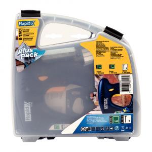 Capsator electric Rapid E-TAC pentru capse si cuie kit cu servieta pentru ambalaje,magazie duala,capse 140/6-14mm,cuie 8/15mm,include capse 140/8 (300 buc),140/12 (300 buc),cuie 8/15 (300 buc) 50005766