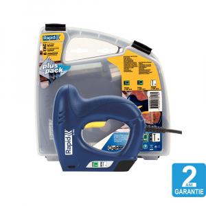 Capsator electric Rapid E-TAC pentru capse si cuie kit cu servieta pentru ambalaje,magazie duala,capse 140/6-14mm,cuie 8/15mm,include capse 140/8 (300 buc),140/12 (300 buc),cuie 8/15 (300 buc) 50005761