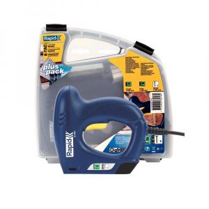 Capsator electric Rapid E-TAC pentru capse si cuie kit cu servieta pentru ambalaje,magazie duala,capse 140/6-14mm,cuie 8/15mm,include capse 140/8 (300 buc),140/12 (300 buc),cuie 8/15 (300 buc) 50005760