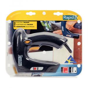 Capsator electric Rapid E100 pentru capse si cuie, mici Proiecte DIY, Desing ergonomic, magazie duala, capse 53/6-14mm, cuie 8/15mm 50005786