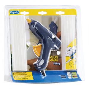 Pistol de lipit Rapid EG111 + 500g batoane silicon Universal transparent 12mm, 250W, debit 250 g/ora, 403030762