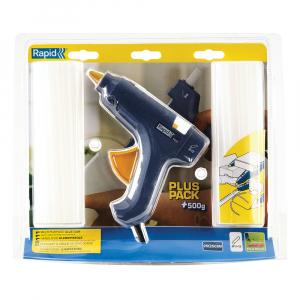 Pistol de lipit Rapid EG111 + 500g batoane silicon Universal transparent 12mm, 250W, debit 250 g/ora, 403030764