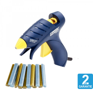 Pistol de lipit Rapid EG130 Temperatura Scazuta Deko Kit, batoane silicon Oval, 130⁰C, 100W, debit 80 g/h, include batoane silicon cu sclipici, 5 buc argintii si 5 buc aurii, 50004451