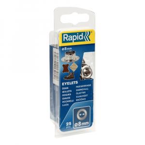 Ocheti Rapid diametru 8.0mm, otel finisat argintiu, include sistem de fixare, 25 buc/set 50004119