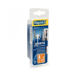 Nituri Rapid High Performance diametru 4.0mm x 14mm, aluminiu, burghiu metal HSS inclus, 50 buc/set 500038516